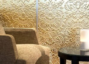 Wall panel 14793 IMPERIAL leather baroque damask 3D look white gold